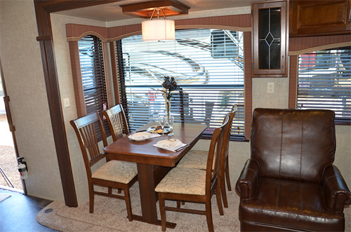 Dining area inside a Fifth Wheel RV
